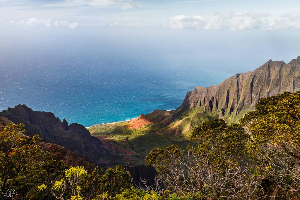 Hawaii, Kauai, Waimea State Park, Canyon, Lookout, Na Pali, Wasserfall, Postkarte, 550