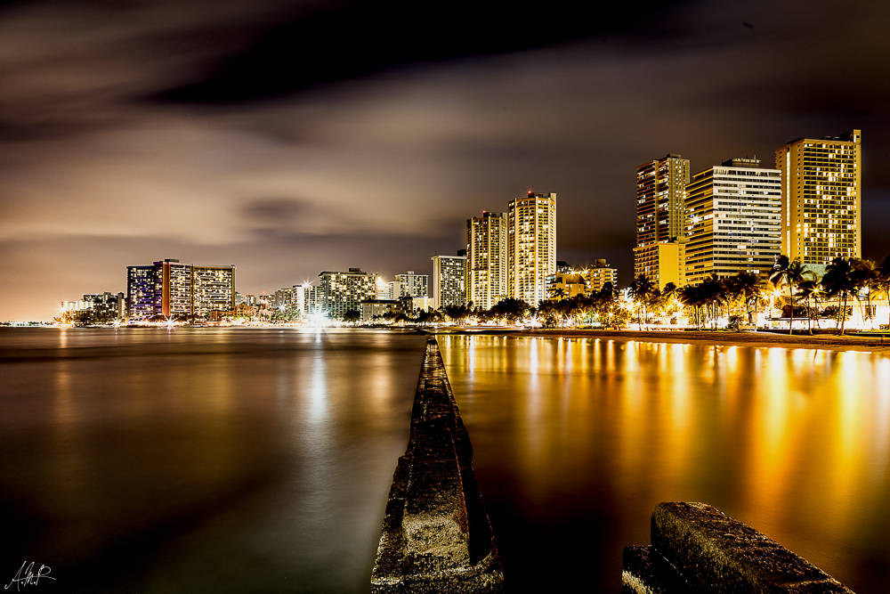 Hawaii, Oahu, Honolulu, Waikiki Beach, Nacht